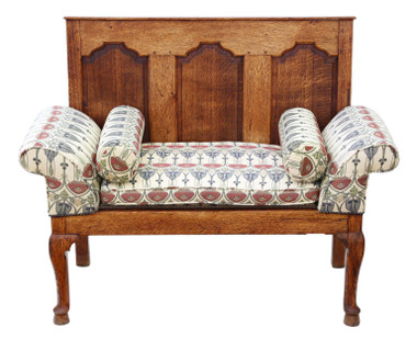 Georgian oak settle bench seat 18th Century