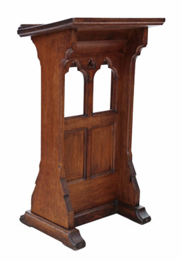 19th Century Gothic carved oak pedestal lectern stand station