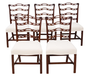 Set of 5 Georgian Revival C1900 mahogany dining chairs