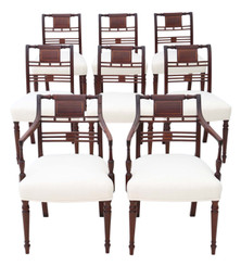 Georgian fine quality set of 8 (6+2) inlaid mahogany dining chairs C1800