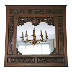 Large quality carved hardwood wall mirror mid 20th Century