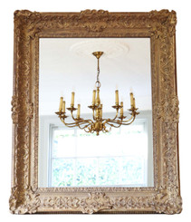 19th Century large quality Louis XIV style gilt overmantle wall mirror