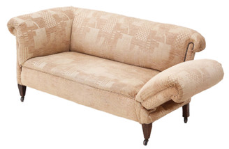 Small Victorian C1895 Chesterfield drop-arm sofa