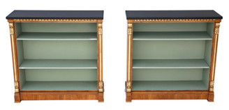 Pair of large Victorian and later walnut adjustable bookcase