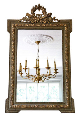 Large 19th Century gilt overmantle or wall mirror