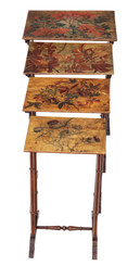19th Century decorated beech nest of 4 side tables occasional