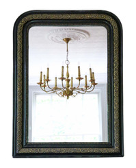 Large 19th Century overmantle wall mirror ebonised and gilt finish