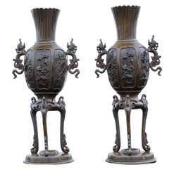 Large quality pair of Chinese bronze vases 19th C