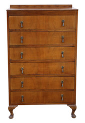 Retro 6 drawer figured walnut chest of drawers C1930