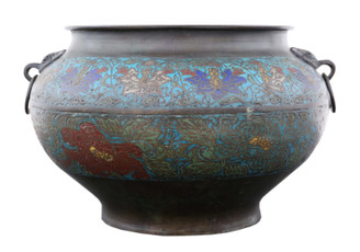 Chinese bronze champleve planter bowl Late 19th Century