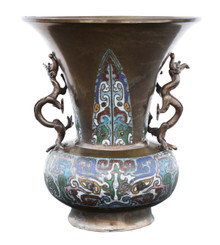 Late 19th Century quality Chinese bronze champleve vase
