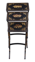 Victorian Chinoiserie nest of decorated black lacquer tables