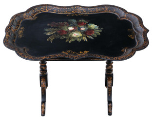 Victorian tilt top decorated black lacquer tray top table coffee