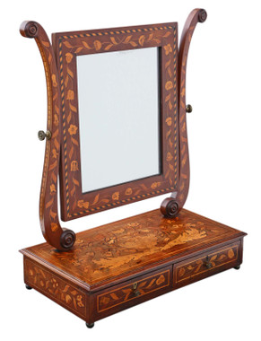 19th Century marquetry dressing table swing mirror toilet