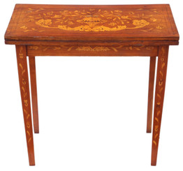 Victorian mahogany marquetry folding card console table 19th Century