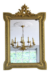 19th Century French gilt wall mirror overmantle crest