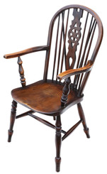 Victorian C1900 ash and elm Windsor chair wheel back dining armchair