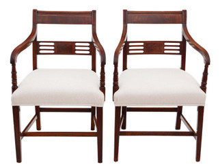 Pair of fine quality Regency elbow, carver or desk chairs C1825