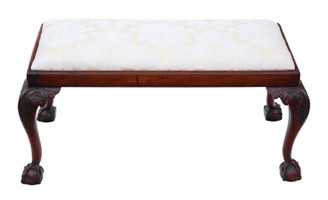 19th Century carved mahogany double stool or window seat