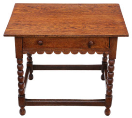 Georgian C1800 and later oak writing side occasional table with drawer