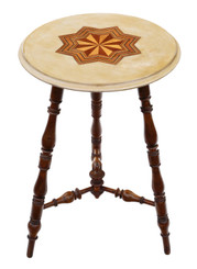 Victorian 19th Century decorated and inlaid beech cricket table side occasional
