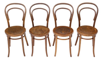 Set of 4 bentwood kitchen dining chairs early 20th century