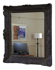 Large quality carved oak 19th Century overmantle or wall mirror