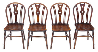 Set of 4 elm and beech kitchen dining chairs C1900