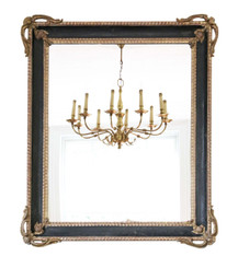 Large gilt and black 19th Century overmantle or wall mirror