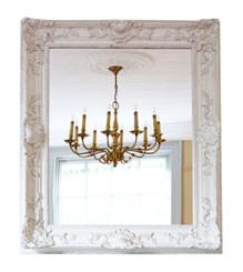 Large natural gesso overmantle or wall mirror mid 20th Century