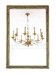 Gilt and decorated overmantle or wall mirror C1920