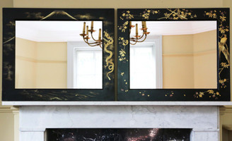 Large quality pair of black lacquer Japanese decorated wall mirrors C1910