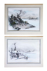 Large pair of antique Japanese ink and watercolour paintings C1910