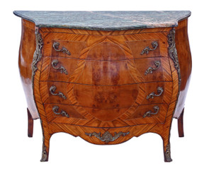 Burr walnut and marble bombe chest of drawers revival copy