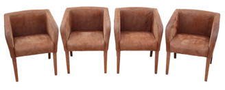 Retro Vintage Set of 4 brown suede leather club style dining or armchairs chairs