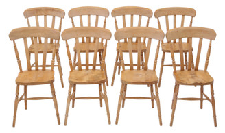 Set of 8 elm and beech kitchen dining chairs