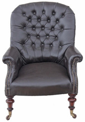 Victorian button back leather armchair