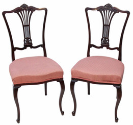 Pair of mahogany Victorian dining chairs
