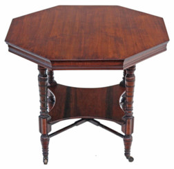 Victorian walnut octagonal centre side table