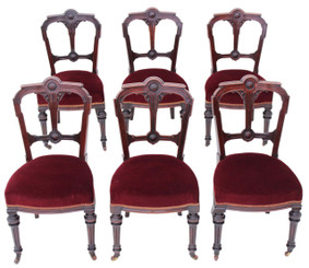 Set of 6 Victorian Gothic mahogany dining chairs