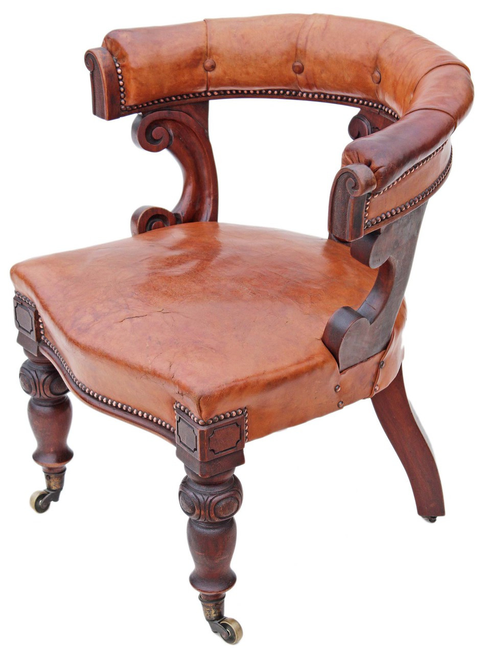 Victorian Walnut Leather Library Desk Chair West Norfolk Antiques