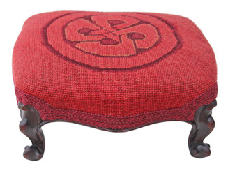 Victorian carved mahogany upholstered foot stool
