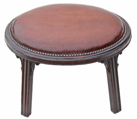 19th Century mahogany and leather stool