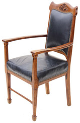 Victorian oak leather armchair carver