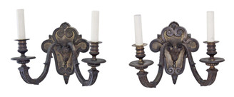 Pair of 2 lamp heavy bronze Gothic wall lights