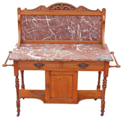Victorian satinwood marble washstand dressing table