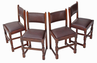 Set of 4 oak Gothic revival dining chairs