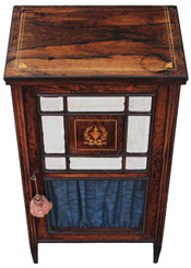 Victorian inlaid rosewood music display cabinet
