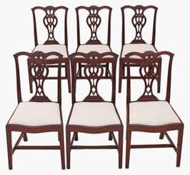 Set of 6 Georgian Chippendale revival mahogany dining chairs