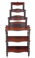 Victorian rosewood open bookcase whatnot